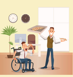 Man eat pizza at office happy disabled coworker vector