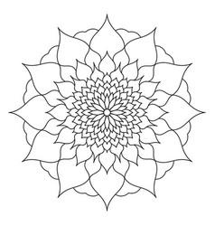 mandala of black color flower petals abstraction vector image