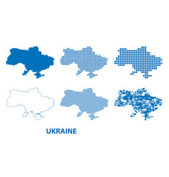 map of ukraine - set of silhouettes vector image