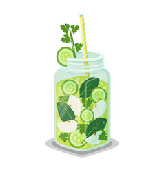 mug of rrefreshing drink contains organic products vector image