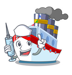 Nurse aerial in cartoon cargo ship view vector
