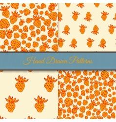 Orange Strawberry Pattern Set vector