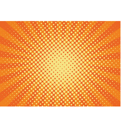 orange yelow rays and dots pop art background vector image