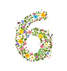 Ornate font consisting of the spring flowers and vector