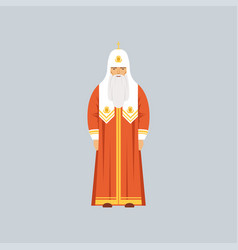 Orthodox patriarch in red soutane representative vector