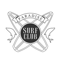 paradise surf club logo template black and white vector image