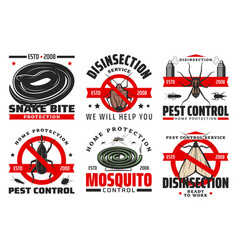pest control and disinfection service icons vector image