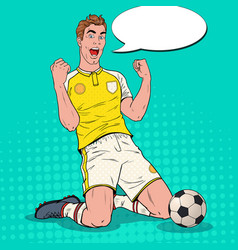 Pop art soccer player celebrating goal footballer vector