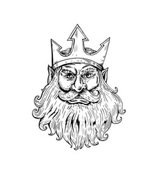 Poseidon wearing trident crown woodcut vector