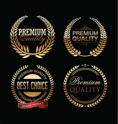 premium quality golden laurel wreath collection vector image