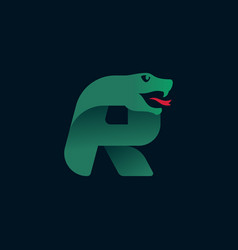 R letter logo with snake head silhouette vector