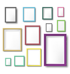 realistic color photo frame rectangular picture vector image