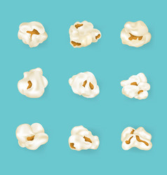 Realistic detailed 3d element popcorn set vector