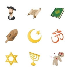 Religious faith icons set cartoon style vector image