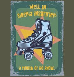 roller-skaters on vintage background vector image