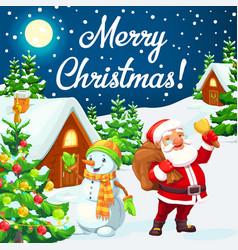 Santa and snowman with christmas tree gifts bell vector