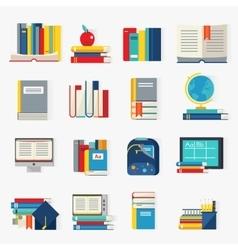 School Books Decorative Icons Set vector