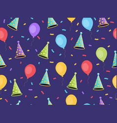 seamless pattern with balloons and caps confetti vector image