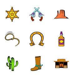 Sheriff icons set cartoon style vector