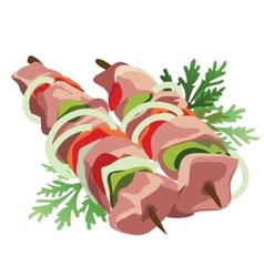 Shish kebab on a stick with vegetables and herbs vector