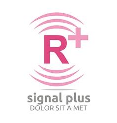 Signal letter r plus pink alphabet wireless vector