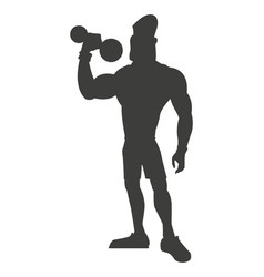 silhouette healthy man weight lifting vector image