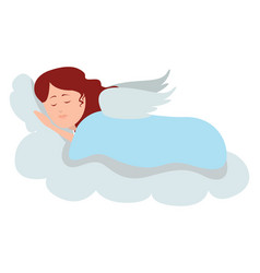 Sleeping angel on white background vector