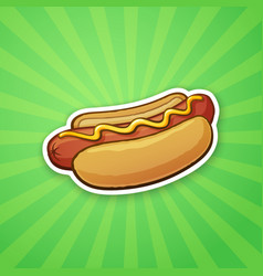 Sticker hot dog with mustard vector