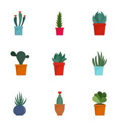 Succulent cactus icon set flat style vector