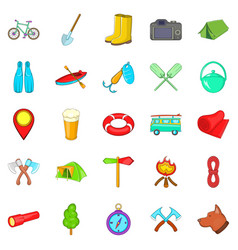 Terrain icons set cartoon style vector