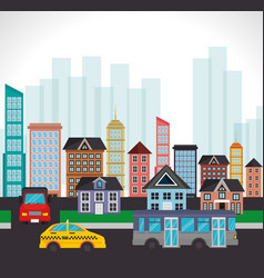 traffic town street building landscape vector image