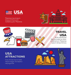 travel to usa promotional banners with national vector image