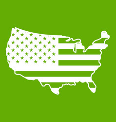 usa map icon green vector image