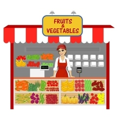 vegetables and fruits shop with female seller vector image