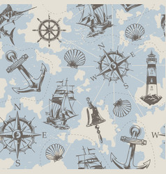 Vintage nautical elements seamless pattern vector