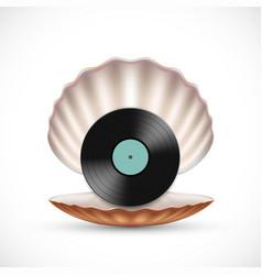 vinyl record disc in a seashell vector image