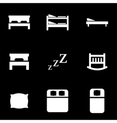 white bed icon set vector image