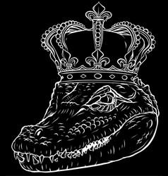 white silhouette head king crocodile vector image
