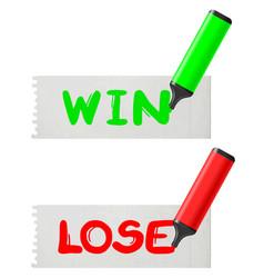 Win-lose vector