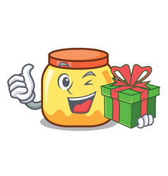 With gift cream jar mascot cartoon vector