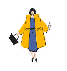 Woman in a yellow coat with black bob and black vector