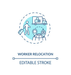 Worker relocation turquoise concept icon vector