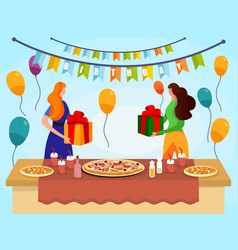 young women with gift box in hands stand at table vector image