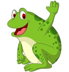 cute frog cartoon smiling vector image vector image