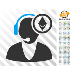 ethereum operator flat icon with bonus vector image
