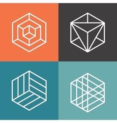Hexagon logos in outline linear style vector image vector image