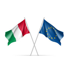 italy and european union waving flags vector image vector image
