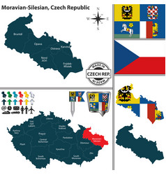 map of moravian silesian czech republic vector image vector image