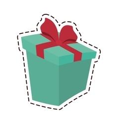 Round gift box ribbon festive color cut line vector