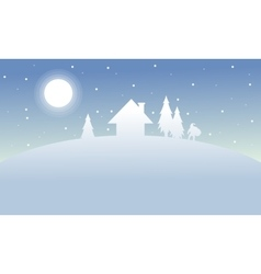 Silhouette of house and spruce scenery winter vector image